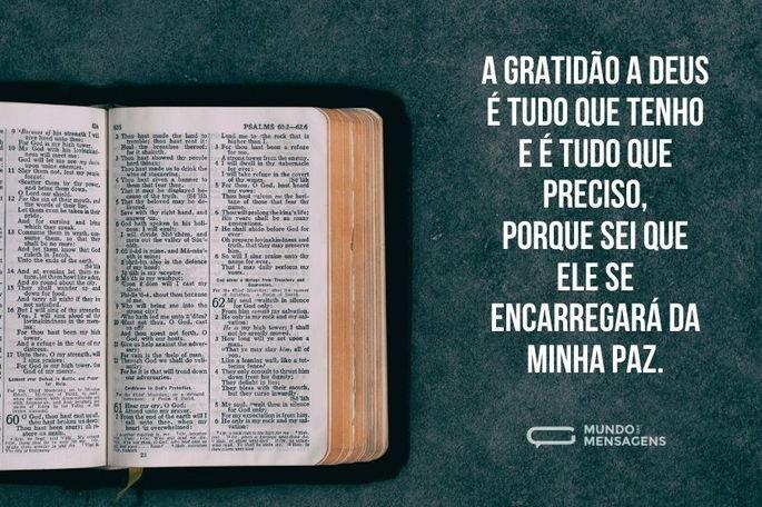 A gratidão a Deus é tudo que tenho e é tudo que preciso, porque sei que Ele se encarregará da minha paz.