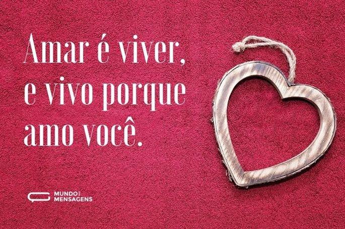 Amar é viver, e vivo porque amo você.