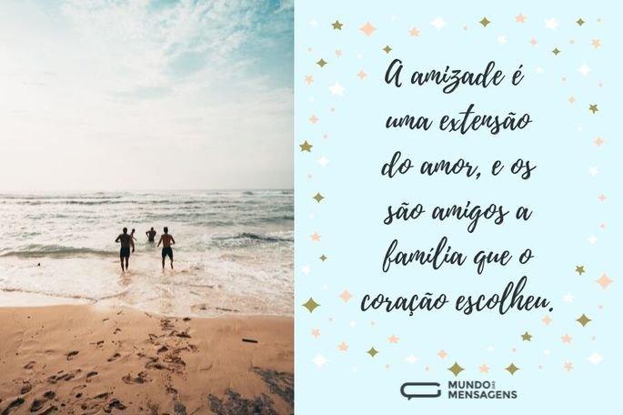 A amizade é uma extensão do amor, e os amigos são a família que o coração escolheu.