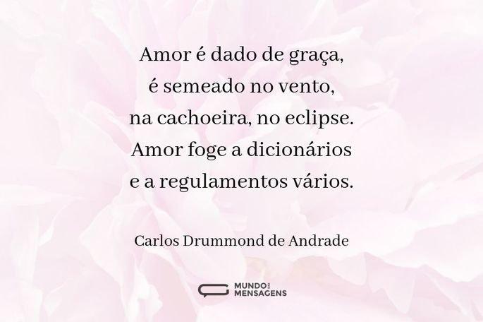 Amor é dado de graça, é semeado no vento, na cachoeira, no eclipse. Amor foge a dicionários e a regulamentos vários.  - Carlos Drummond de Andrade