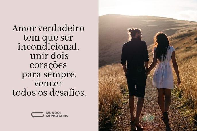 Amor verdadeiro tem que ser incondicional, unir dois corações para sempre, vencer todos os desafios.