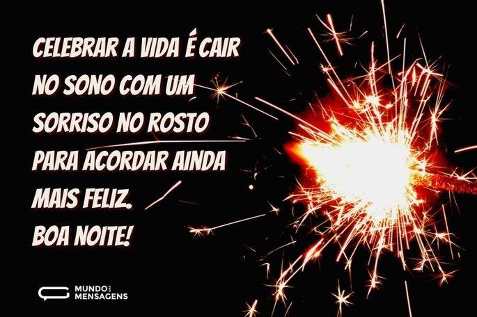 Celebrar a vida é cair no sono com um sorriso no rosto para acordar ainda mais feliz. Boa noite!