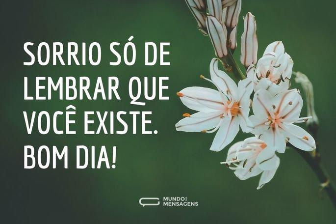 Sorrio só de lembrar que você existe. Bom dia!