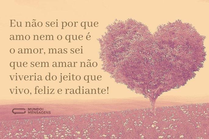 Eu não sei por que amo nem o que é o amor, mas sei que sem amar não viveria do jeito que vivo, feliz e radiante!