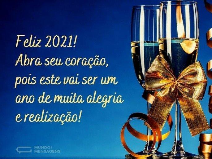 Feliz 2021! Abra seu coração, pois este vai ser um ano de muita alegria e realização!