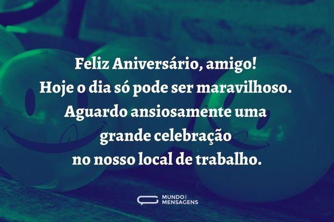 feliz aniversário, amigo! hoje o dia