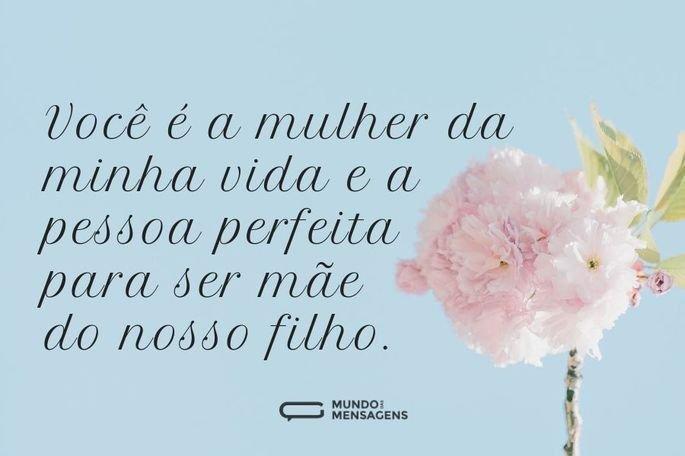 Você é a mulher da minha vida e a pessoa perfeita para ser mãe do nosso filho.