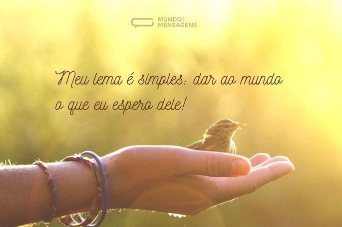 Meu lema é simples_ dar ao mundo o que eu espero dele!