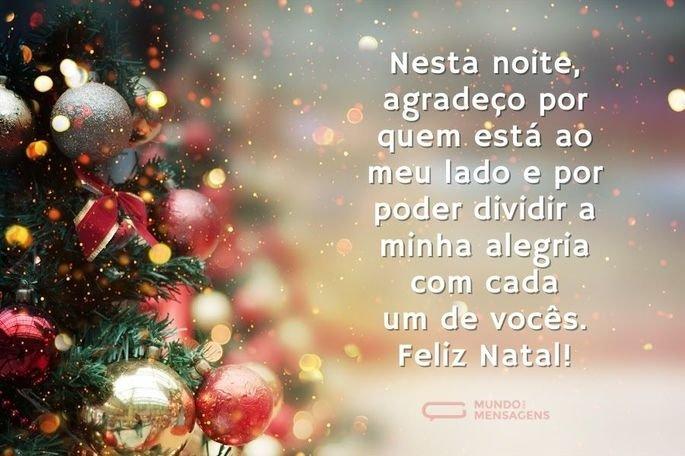 Nesta noite, agradeço por quem está ao meu lado e por poder dividir a minha alegria com cada um de vocês. Feliz Natal!