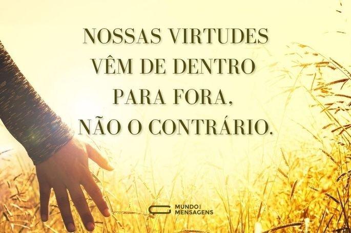 Nossas virtudes vêm de dentro para fora, não o contrário.