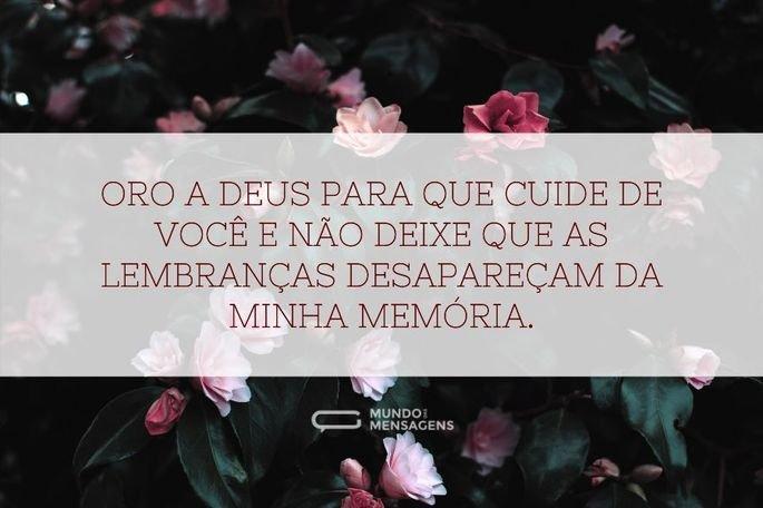 Oro a Deus para que cuide de você e não deixe que as lembranças desapareçam da minha memória.