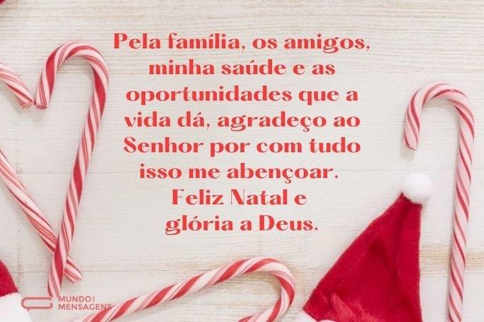 Pela família, os amigos, minha saúde e as oportunidades que a vida dá, agradeço ao Senhor por com tudo isso me abençoar. Feliz Natal e glória a Deus.