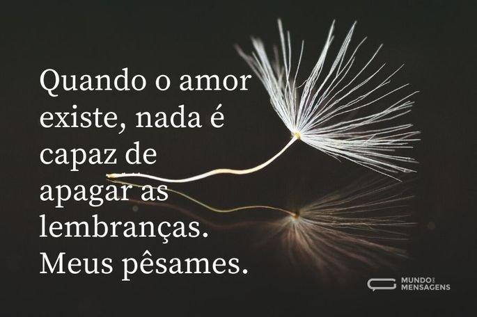 Quando o amor existe, nada é capaz de apagar as lembranças. Meus pêsames.