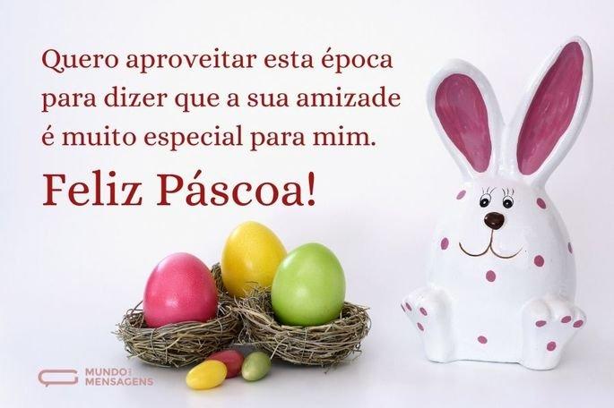 Quero aproveitar esta época para dizer que a sua amizade é muito especial para mim. Feliz Páscoa!