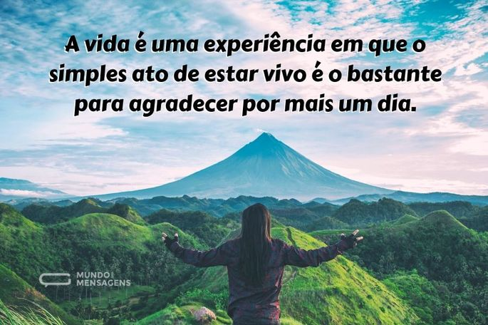 A vida é uma experiência em que o simples ato de estar vivo é o bastante para agradecer por mais um dia.