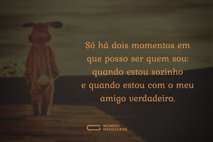 Só há dois momentos em que posso ser quem sou: quando estou sozinho e quando estou com o meu amigo verdadeiro.