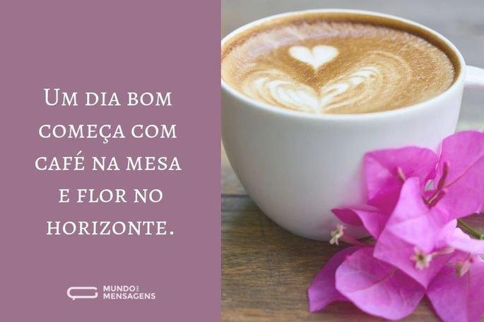 Um dia bom começa com café na mesa e flor no horizonte.