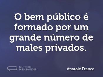 O bem público é formado por um grande número de males privados.