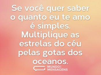 Se você quer saber o quanto eu te amo é simples. Multiplique as estrelas do céu pelas gotas dos oceanos.