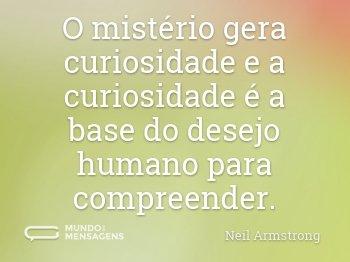 O mistério gera curiosidade e a curiosidade é a base do desejo humano para compreender.