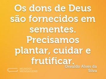 Os dons de Deus são fornecidos em sementes. Precisamos plantar, cuidar e frutificar.