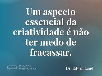 Um aspecto essencial da criatividade é não ter medo de fracassar.