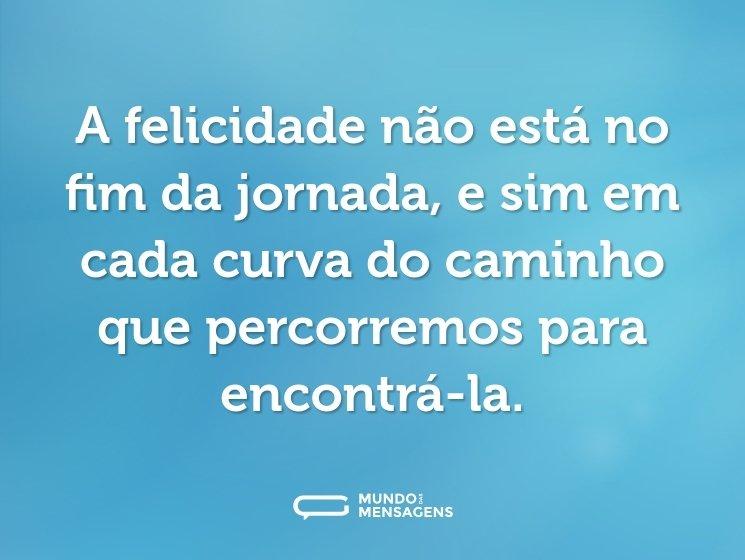 A felicidade não está no fim da jornada, e sim em cada curva do caminho que percorremos para encontrá-la.
