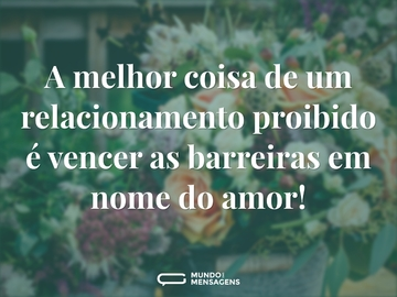 A melhor coisa de um relacionamento proibido é vencer as barreiras em nome do amor!