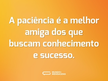 A paciência é a melhor amiga dos que buscam conhecimento e sucesso.