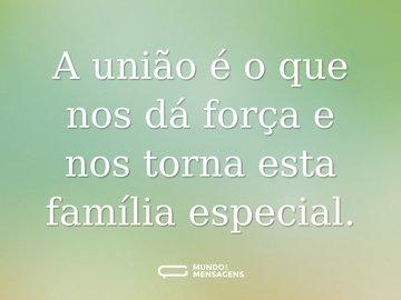 A união é o que nos dá força e nos torna esta família especial.