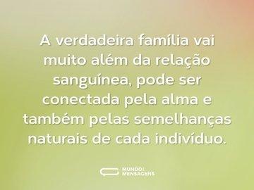 A verdadeira família vai muito além da relação sanguínea, pode ser conectada pela alma e também pelas semelhanças naturais de cada indivíduo.