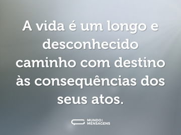 A vida é um longo e desconhecido caminho com destino às consequências dos seus atos.