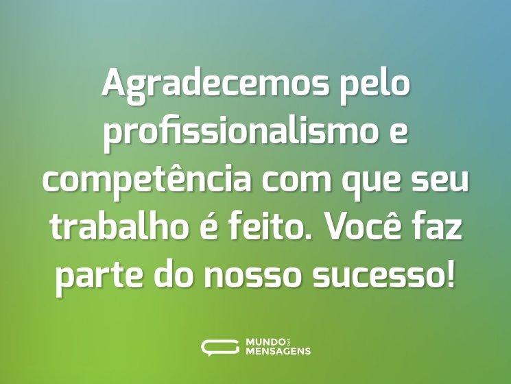 Agradecemos pelo profissionalismo e competência com que seu trabalho é feito. Você faz parte do nosso sucesso!