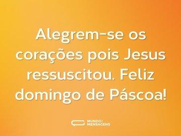 Alegrem-se os corações pois Jesus ressuscitou. Feliz domingo de Páscoa!