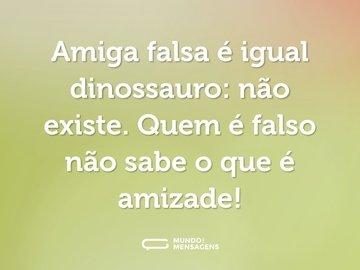 Amiga falsa é igual dinossauro: não existe. Quem é falso não sabe o que é amizade!