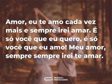 Amor, eu te amo cada vez mais e sempre irei amar. É só você que eu quero, é só você que eu amo! Meu amor, sempre sempre irei te amar.