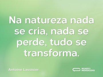 Na natureza nada se cria, nada se perde, tudo se transforma.