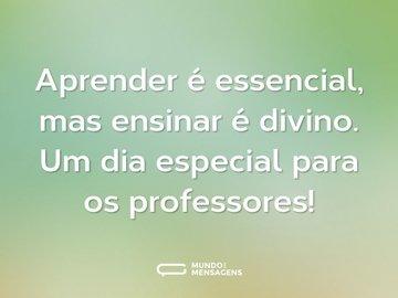Aprender é essencial, mas ensinar é divino. Um dia especial para os professores!