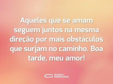 Aqueles que se amam seguem juntos na mesma direção por mais obstáculos que surjam no caminho. Boa tarde, meu amor!