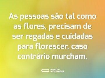 As pessoas são tal como as flores, precisam de ser regadas e cuidadas para florescer, caso contrário murcham.