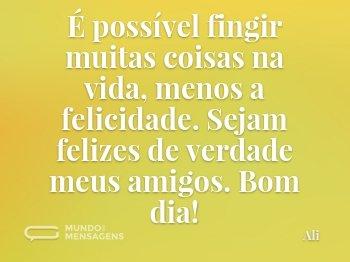 É possível fingir muitas coisas na vida, menos a felicidade. Sejam felizes de verdade meus amigos. Bom dia!