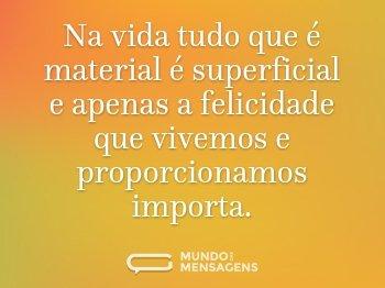 Na vida tudo que é material é superficial e apenas a felicidade que vivemos e proporcionamos importa.
