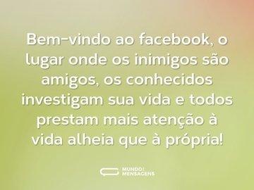 Bem-vindo ao facebook, o lugar onde os inimigos são amigos, os conhecidos investigam sua vida e todos prestam mais atenção à vida alheia que à própria!