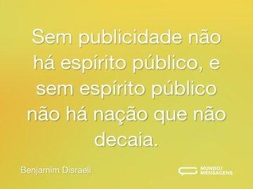 Sem publicidade não há espírito público, e sem espírito público não há nação que não decaia.