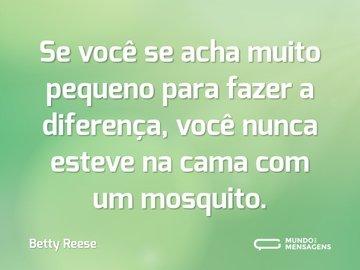 Se você se acha muito pequeno para fazer a diferença, você nunca esteve na cama com um mosquito.