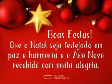 Boas Festas com harmonia e alegria