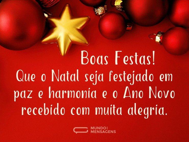 Boas Festas Com Harmonia E Alegria Mundo Das Mensagens