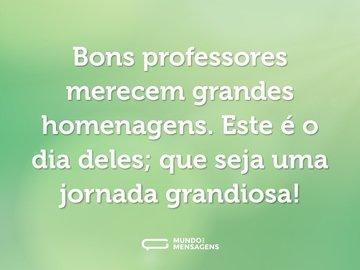 Bons professores merecem grandes homenagens. Este é o dia deles; que seja uma jornada grandiosa!