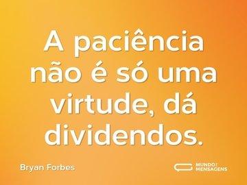 A paciência não é só uma virtude, dá dividendos.