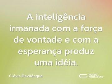 A inteligência irmanada com a força de vontade e com a esperança produz uma idéia.